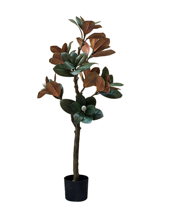 Potted Faux Magnolia Leaf Tree 110cm
