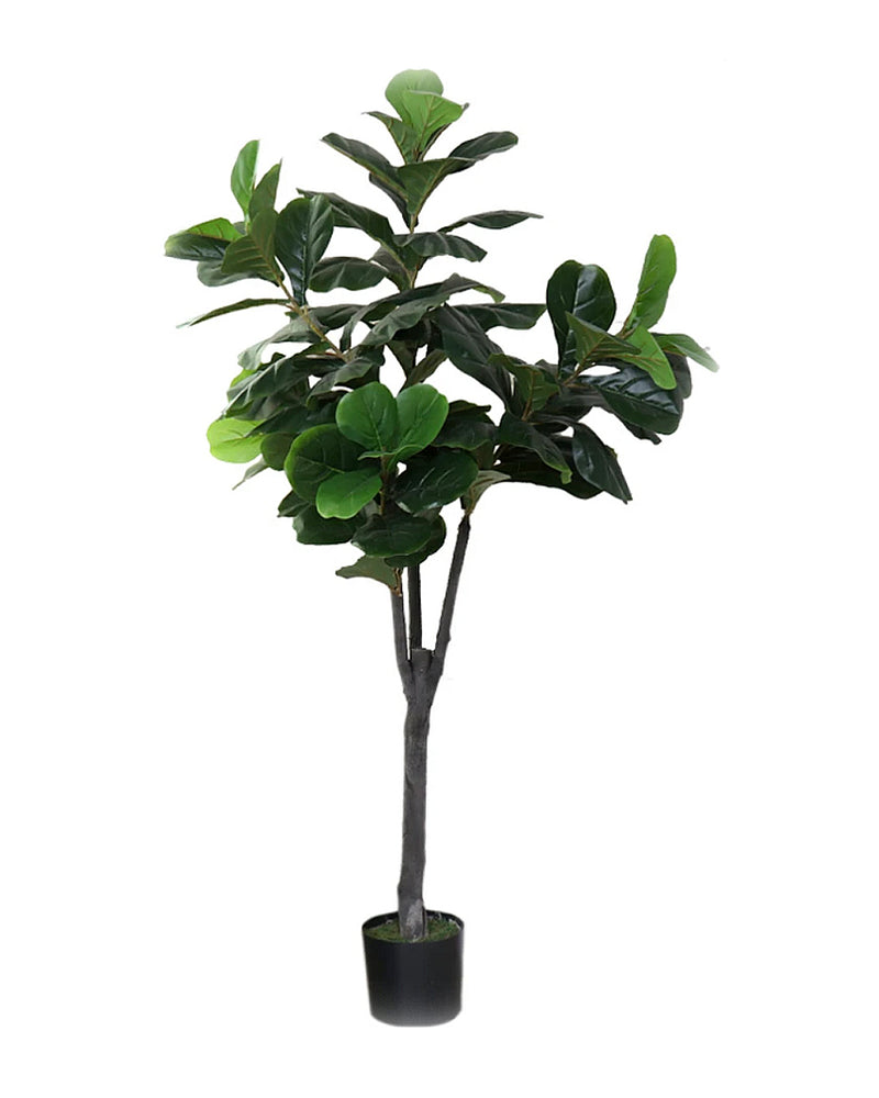 Potted Faux Silk Fiddle Leaf Fig Tree Plant 120cm