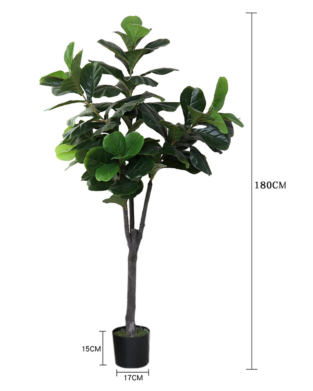 Potted Faux Silk Fiddle Leaf Fig Tree Plant 180cm