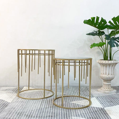 Gold Raindrop Mirror Table