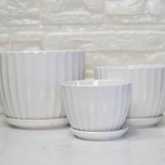 Ceramic Ribbed White Pot with Base
