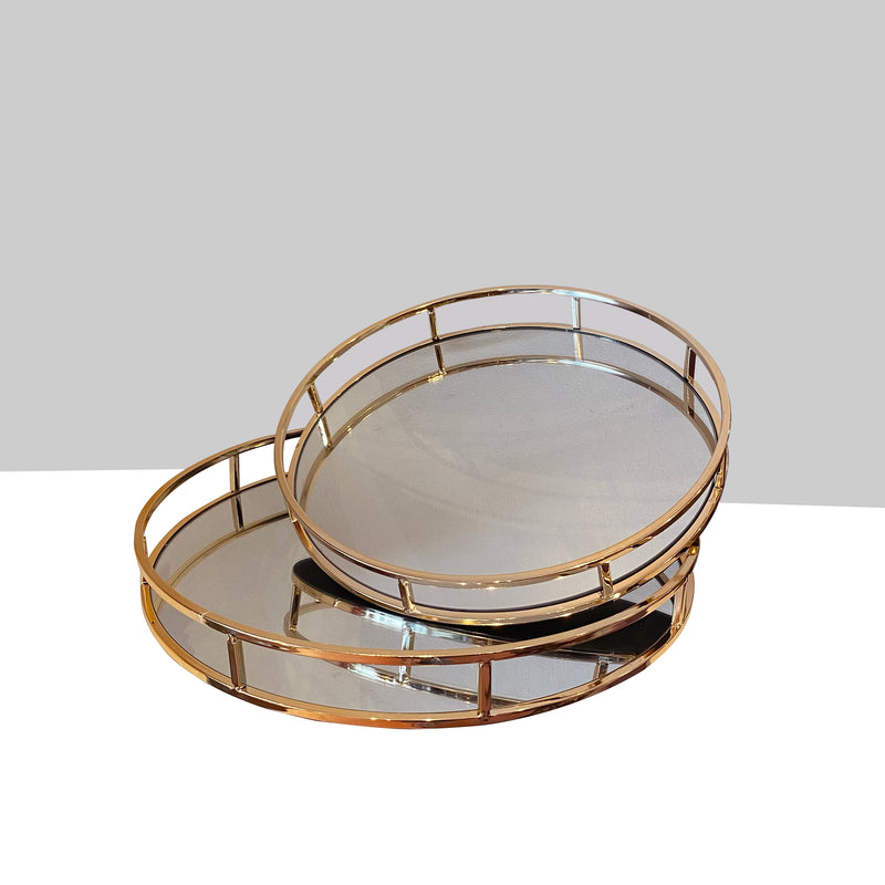 Round Rose Gold Mirror Tray