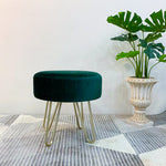 Round Velvet Stool with Hairpin Legs Emerald Green