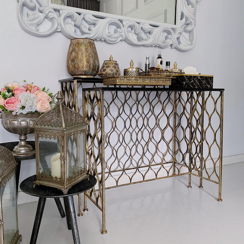 Black Console Table with Gold Decorative Sides
