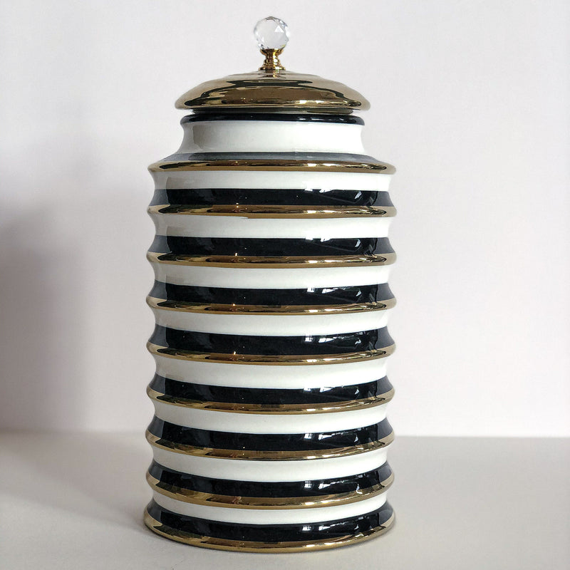 Airtight White/Gold Porcelain Jar