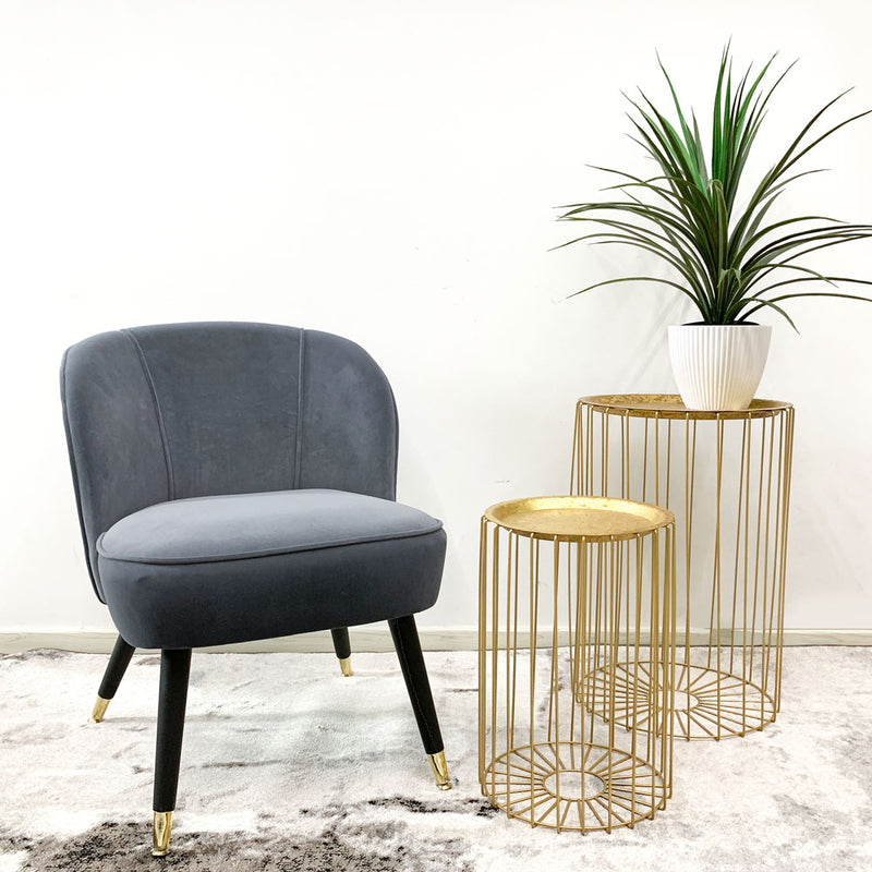 Black & Gold Legs Velvet Lounge Chair