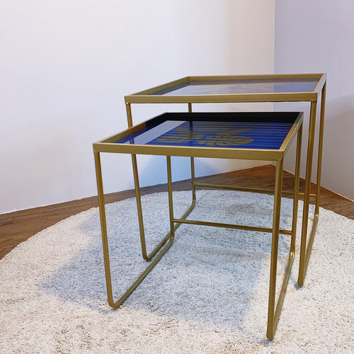 Nesting Tables With Leaf Motif Tabletop