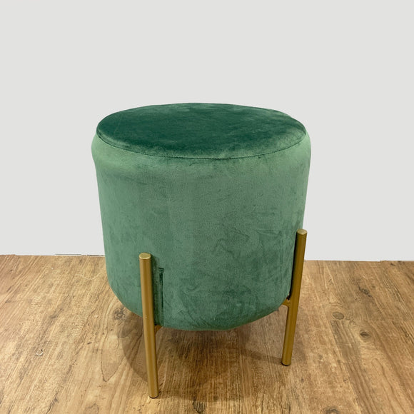 Velvet Stool with Gold Legs (Green)