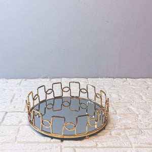 Mirror Serving Tray With Wavy Design