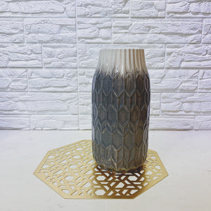 White and Grey Textured Bottle Vase