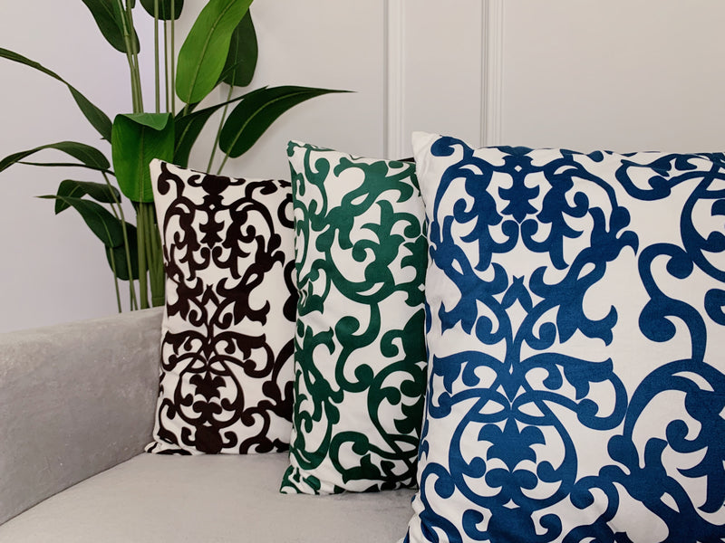 (BUY 1 GET 1 FREE) Damask Print Cushion & Cover Royal Blue