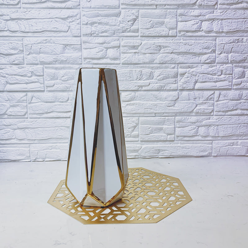 Faceted Vase with Gold Trim