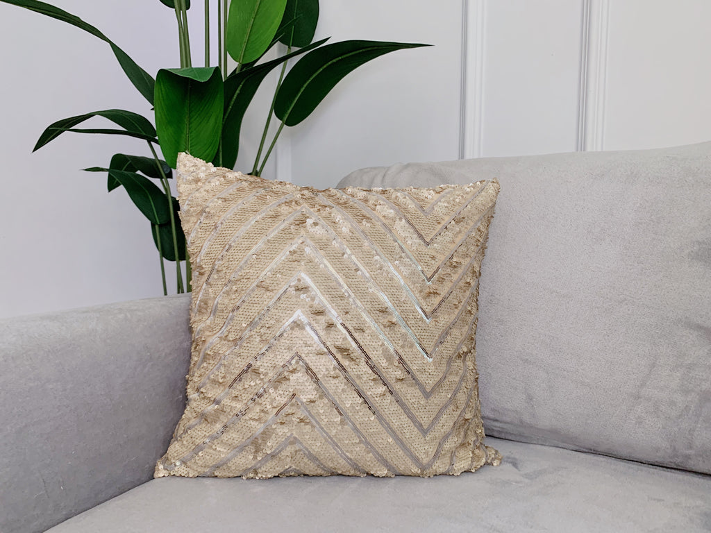 Cream Zig Zag Sequinned Cushion Cover