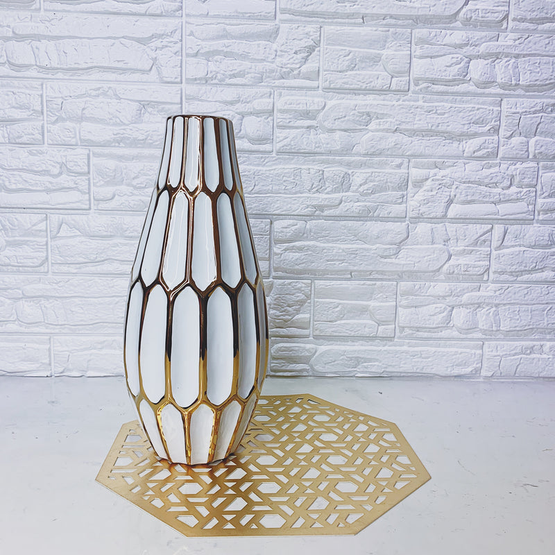 White and Gold Vase with Panelled Design