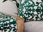 Damask Print Cushion & Cover Emerald Green