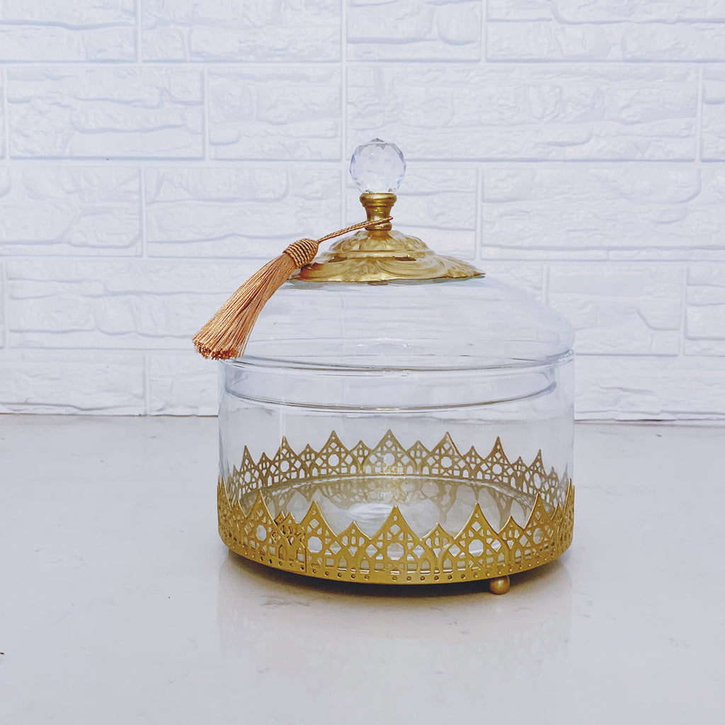 Glass Canister with Gold Arabic Motif