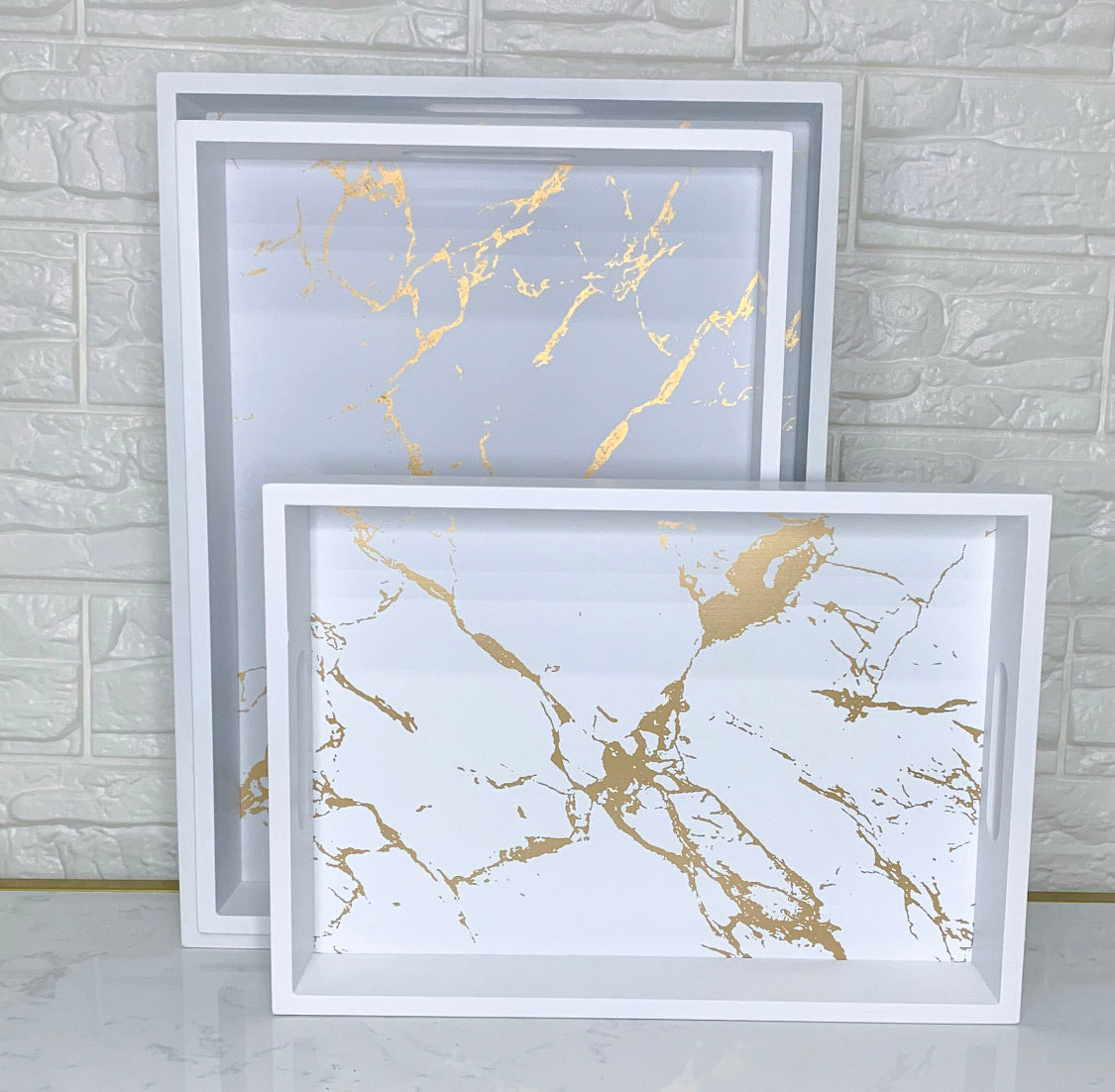 White and Gold Marble Tray (Set of 3)