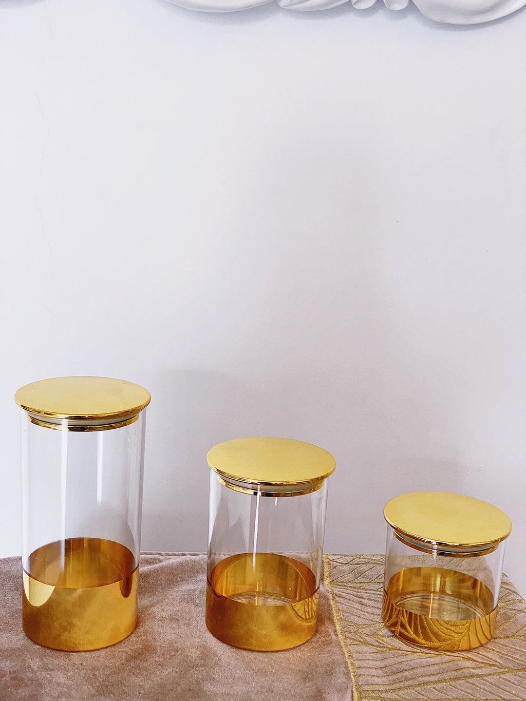 Gold Acrylic Round Canister