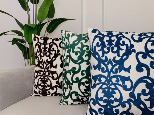 (BUY 1 GET 1 FREE) Jet Black Damask Print Cushion Cover with Insert