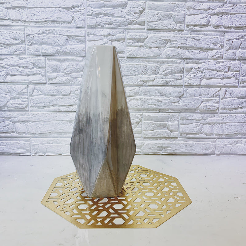 White and Grey Ombre Faceted Vase