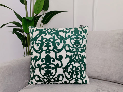 (BUY 1 GET 1 FREE) Damask Print Cushion & Cover Emerald Green