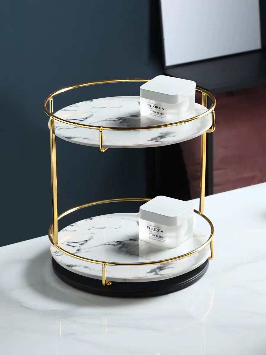 Dual Layer Marble Serving Stand