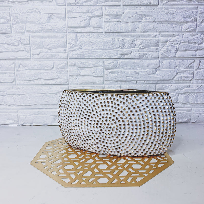 White and Gold Textured Vase (Short)