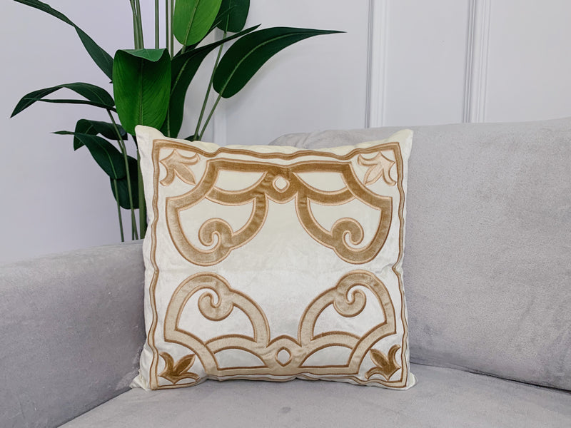 Cream embroidered Cushion