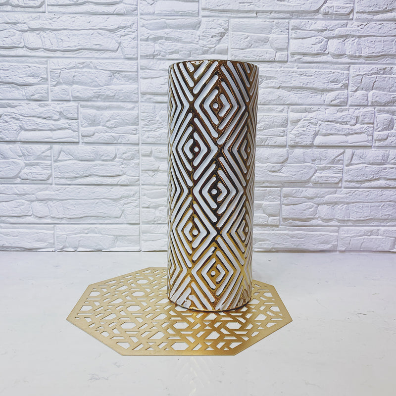 White and Gold Geometric Vase