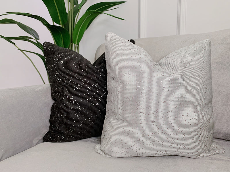 Silver Splat Ink Cushion Cover - Silver