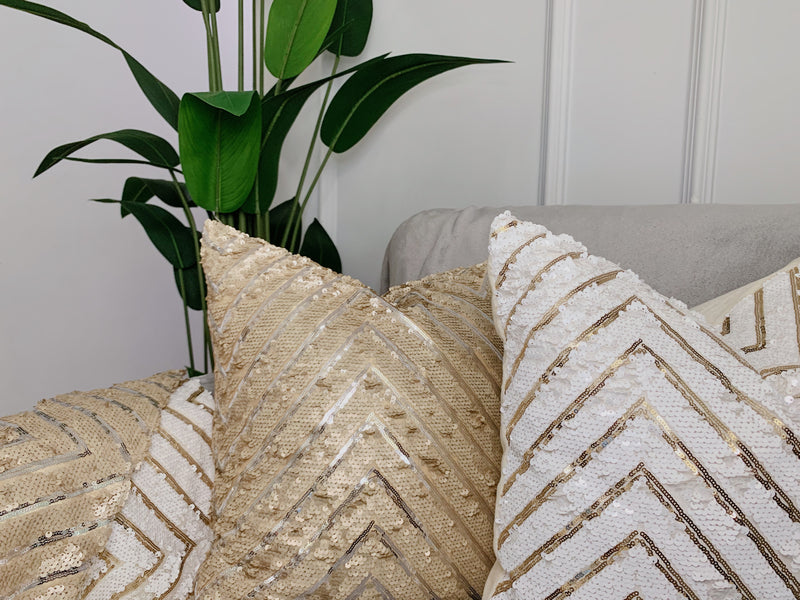 White Zig Zag Sequinned Cushion Cover