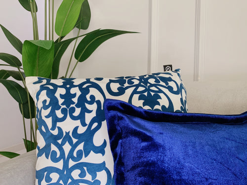(BUY 1 GET 1 FREE) Royal Blue Damask Print Cushion Cover with Insert