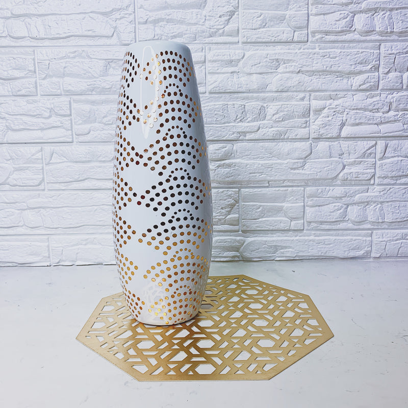 White and Gold Dots Vase