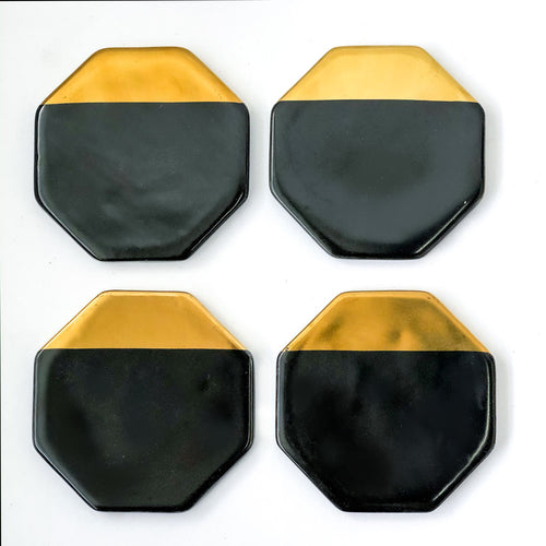 Black/Gold Octagon Coasters