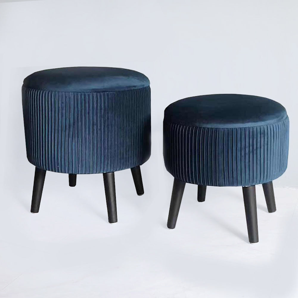 Wooden Leg Stool Blue