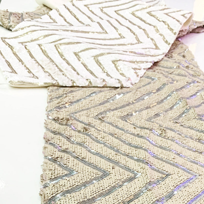 White Zig Zag Sequinned Runner 2m