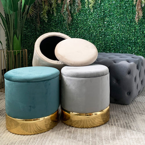 Round Velvet Storage Footstool Cream