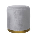 Round Velvet Storage Stool Light Grey