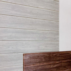 DIY Wood Wall Feature with Adhesive White Oak