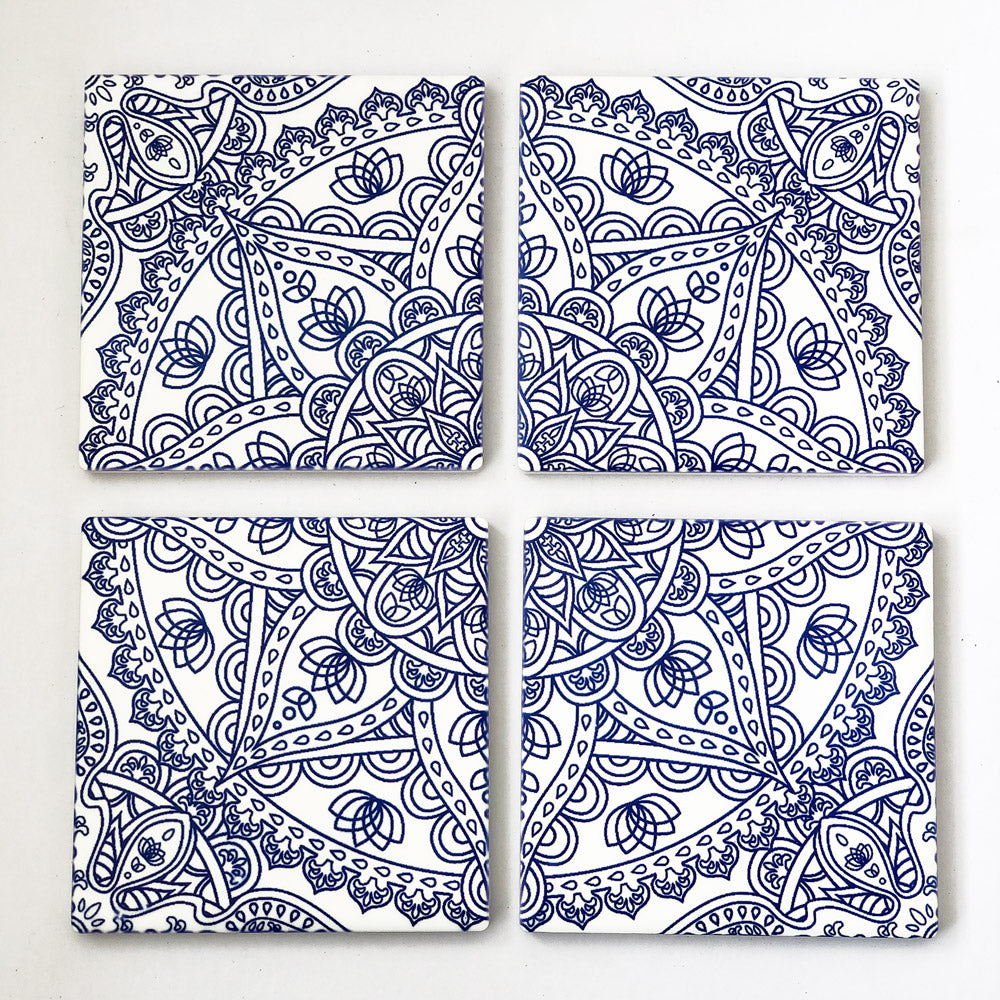 Set of 4 Blue Mandala Ceramic Coasters
