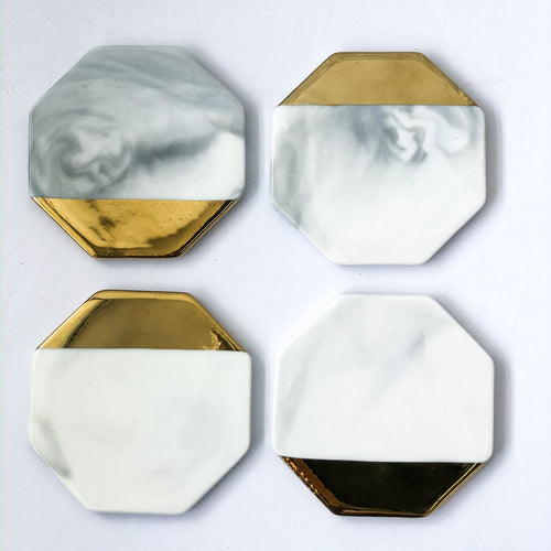 Marble Grey/Gold Octagon Coasters