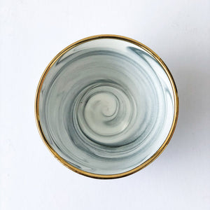 Gold Rim Marble Soup Bowl