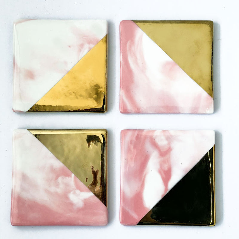 Marble Pink/Gold Square Coasters