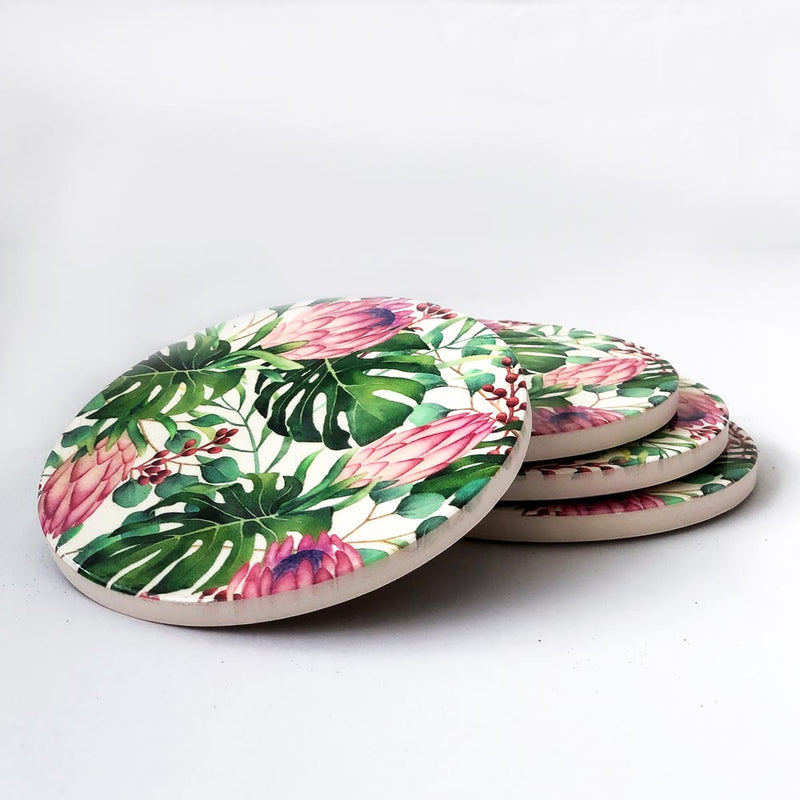 Set of 4 Pink Lotus Ceramic Coasters