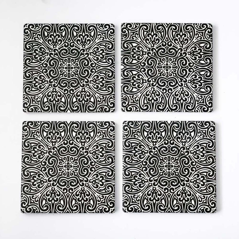 Set of 4 Tribal Art Ceramic Coasters