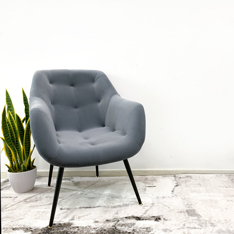 Wooden Legs Velvet Button Armchair Light Grey