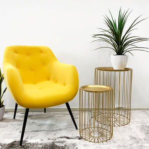 Wooden Legs Velvet Button Armchair Yellow