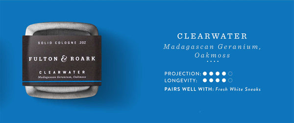 Clearwater Solid Cologne: Madagascan Geranium, Oakmoss. Projection and Longevity 4/5. Pairs well with: Fresh White Sneaks.