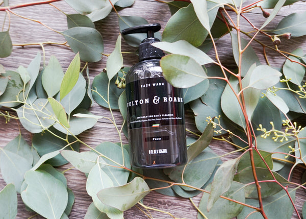 Picture of Fulton & Roark Face Wash among eucalyptus leaves