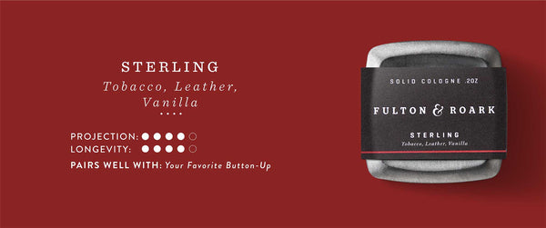 Sterling: Leather, Tobacco and Vanilla. Projection and Longevity 4/5. Pairs well with: Your Favorite Button up